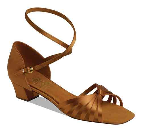 1666 Dark Tan Satin Kinderschuh