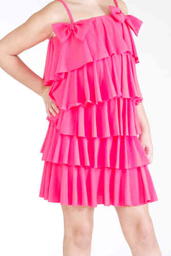 Lauren Multi Ruff Dress - Pink