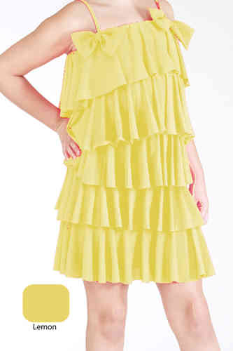 Lauren Multi Ruff Dress - Lemon