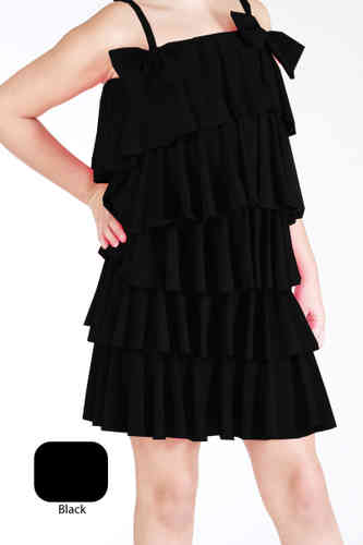 Lauren Multi Ruff Dress - Black