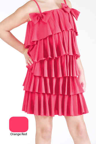 Lauren Multi Ruff Dress - Orange Red