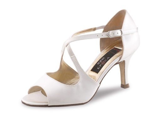Mable 6 cm Satin Weiss - Ledersohle - Strassenschuh